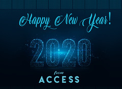 Happy New Year from ACCESS Team! (Silvia & Teresa) Tags: business abstract geometry blue newyear modern future futuristic digital neon celebrate newyearseve light technology particle banner event holiday background new happy year 2020 party illustration celebration decoration particles text eve graphic vector design card poster number happynewyear sign anniversary shiny dinner jubilee set headline