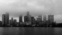 Canary Wharf mist (Rob Emes) Tags: london canarywharf bw iphone iphonex iphonography mist fog towers city urban black thames river