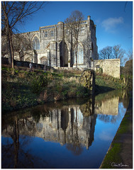 The Winter Light on Christchurch Priory Church (clive_metcalfe) Tags: christchurch dorset uk priory church reflection water millstream trees embankment riverbank