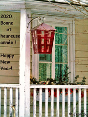 A new beginning... soon! (Jean S..) Tags: newyear balcony winter window lantern tree white green red yellow