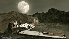 Crash Site (magnetic_red) Tags: moon full moonlight plane crash navy jet old desert night nopeople military mountains moody