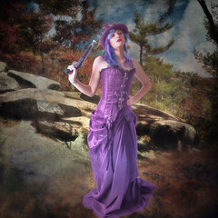 Fedora (larwbuck) Tags: artistic clouds composite effects gunnysack hat model nature painterly rocks textures trees
