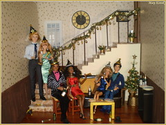 Happy New Year 2020!🎉 (Mary (Mária)) Tags: newyear 2020 happynewyear christmas barbie dolls interior diorama handmade couple clock stairs dollphotography dollcollector dollphotographer winter poppyparker photoshoot integritytoys chip champagne glamour luxury mattel marykorcek