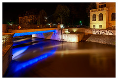 Wrocław by night (leo.roos) Tags: nacht blau sonya weerspiegeling graffi tijdopname geelblau bridge longexposure blue reflection yellow wroclaw wrocław breslau a900 samyang1428 poland polska polen amount darosa may2013 leoroos wroclawdyxummeet graffiti streetart grafitti graphiti graphitti