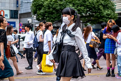 Tokyo 2019 (burnt dirt) Tags: shibuya tokyo japan asia japanese asian candid documentary street photography downtown metro urban city scramble crossing outdoor people person fujifilm xt3 fujinon 50mm f2 woman girl smile laugh train station style fashion life real crowd tourist emotion expression portrait close nippon black white mask