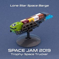 Lone Star Space Barge (Ted Andes) Tags: spacejam2019 lego space trucker lime green barge container trophy