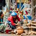 Woman Selling Clay Pots, Chauk Myanmar