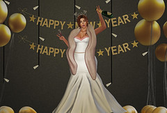 HAPPY NEW YEAR 2020 (SL : FatNnerdy ♥Will Model 4 Hugs♥) Tags: happy new year 2020 redhead champagne confetti ginger party white gown fauxfur gold balloons backdrop