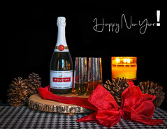 Happy New Year (Aliparis) Tags: stilllife naturallight sparklingwine happynewyear2020 ribbon red bow pinecones candle candlelight checker ballatore 2019 christmas blackintheback