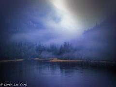 Fog Descending (lorinleecary) Tags: water trees alaska fog landscapes mountains fjord shore