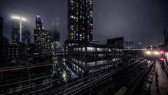 Inbound (onefivefour) Tags: newyork nyc queens astoria night dark rain train subway 7 queensboro plaza