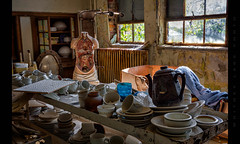Teapot Organ Recital (Whitney Lake) Tags: dinnerware dishes china mannequin anatomymodel cadaver teapot interior rurex urbex achoolroom school decay abandoned