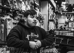 (jfre81) Tags: chicago store portrait black white blackandwhite bw sox flag man sergio souvenir shop michigan avenue monroe madison 312 windy city urban james fremont photography jfre81 canon rebel xs eos