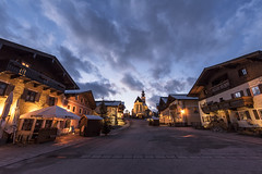 Austrian village (mystero233) Tags: village austria europe church houses house architecture old townsquare square evening sunset clouds sky night landscape outdoors salzburg light lights markt sankt veit im pongau