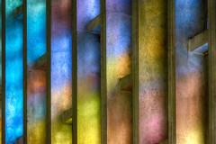 Light of stained glass on concrete (Jan van der Wolf) Tags: map200330v concrete beton stainedglass light licht citykerkhetsteiger hetsteiger colors colours architecture architectuur church kerk repetition herhaling rotterdam ritme rhythm visualrhythm