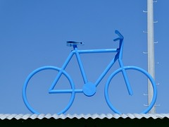 Blue bike agains blue sky (sander_sloots) Tags: bike shed perth cottesloe post train station dctz90 panasonic lumix picture minimalism minimalist fiets stalling paal blue sky bicycle blauw blauwe lucht australia shelter
