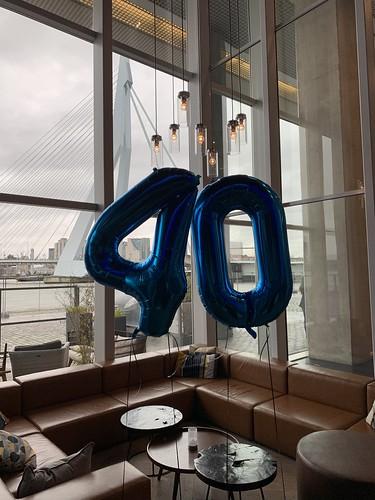 Folieballon Cijfer 40 Aqua Asia Rotterdam