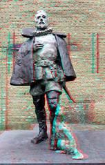 Bronze Statue Willem van Oranje Hofstraat Dordrecht 3D (wim hoppenbrouwers) Tags: bronzestatuewillemvanoranje hofstraat dordrecht 3d anaglyph stereo redcyan bronze statue willemvanoranje standbeeld