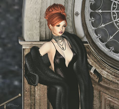 Hildda New Years 2020 Party Dress (Hildda.Deveaue) Tags: secondlife newyears dress gown leathergloves clutch redhair partydress fur stole pose model
