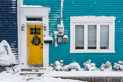 New Year Snowy Day Blues ... (vanessa violet) Tags: christmas stjohn's snowflakes snow storm jellybeanrow winter home house wednesday blue door window hww newyearsday snowdayblues vanessaviolet 40