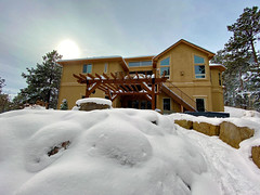 After the storm, a new day... (Jan Nagalski) Tags: cascade colorado snow mountains rocks lodge airbnb weather storm sun winter trees pine jannagalski jannagal cellphone white