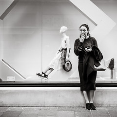 having a break (Gerard Koopen) Tags: uk london woman break smoking cigarette fashion fashiondoll shopwindow street streetphotography candid noir noirlovers blackandwhite monochrome blackandwhiteonly fuji fujfilm fujilove fujilover xpro2 2019 gerardkoopen gerardkoopenphotography