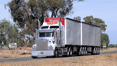 409 - 904 (1 of 2) (Jungle Jack Movements (ferroequinologist) all righ) Tags: kenworth kw kenny blue paccar nsw new south wales riverina hp horsepower big rig haul freight cabover trucker drive transport carry delivery bulk lorry hgv wagon road highway nose semi trailer deliver cargo interstate articulated vehicle load freighter ship move motor engine power teamster truck tractor prime mover diesel injected driver cab cabin loud wheel exhaust double b australia australian newell t409 t904 drain family affair