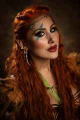 Ruby (Wurmwood Photography) Tags: nikon godox fovitec beauty women woman eyes makeup portrait focus lovely red redhead green fantasy folklore mythology conceptual fineart art viking warrior highlander blue freckles light lighting