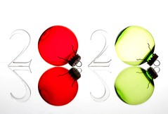 A New Year (Karen_Chappell) Tags: 2020 red green white number ornament xmas noel holiday christmas newyear happynewyear reflection stilllife glass product ornaments decor decoration round circle color colour colors colours colourful