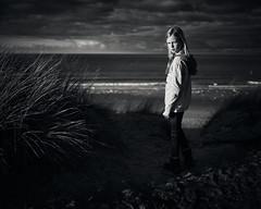 Dunes & beach 1 (PascallacsaP) Tags: sea beach water portrait portraiture environmentalportraiture environmentalportrait sand surf foam waves bw blackandwhite blackwhite monochrome grass coudy sky dramatic lighting lateafternoon sunset zeeland zeeuwsvlaanderen cadzandbad cadzand nieuwvliet nieuwvlietbad netherlands beachgrass marram marramgrass