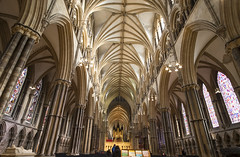 Big Room (simonannable) Tags: lincoln fujifilmxt2 fujifilm samyang12mm big room religious interior inside architecture arch gothic style lincolnuk lincolnshire cathedral lincolncathedral uk britain nave historiclincoln placeofworship