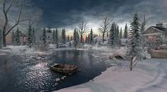 Winter Lake (antoniohunter55) Tags: secondlife sl firestorm winter snow frozen lake boat frost