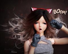Pow! 💥 (pure_embers) Tags: angel philia angelphilia yurino pink drops obitsu48 embersreina reina uk england doll dolls pure laura embers pureembers girl obitsu ombre alpaca hair suckerpunch style pow boom punch gloves dollgerie