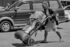 Pushing (Beegee49) Tags: street people hand cart pushing delivery blackandwhite monochrome sony a6000 bw bacolod city philippines asia