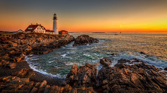Portland Lighthouse, Maine (Greg from Maine) Tags: lighthouse portlandlighthouse maine coast seascape newengland capeelizabeth rockycoast portland waves sunrise twilight horizon ocean water nature landscape headlight portlandheadlight canon canon5d canonmarkiv tamron