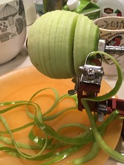 AppleSlicer (tombrewster6154) Tags: green apple slicer making pie autumn fall 2017 mmxvii late october weston massachusetts boston metropolitan area indoor photography thursday kitchen table inside lovely photograph delicious dessert orange plate coffee mug
