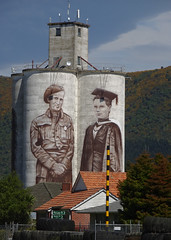 The Academic and the Soldier (mikecogh) Tags: waimate newzealand academic soldier uniform mural public art silos billscott