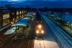 Anoka Station (shawn_christie1970) Tags: anoka minnesota unitedstatesofamerica bnsf5931 bnsfstaplessub ge es44ac night winter snow train railroad bnsf