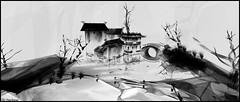 A l'encre de Chine (Tim Deschanel) Tags: tim deschanel sl second life exploration landscape paysage art shui mo fiona fei dreams railroad eyre station encres chine fabrice tonnellier noir blanc black white