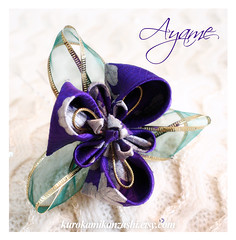 Ayame (Kurokami) Tags: lindsay ontario canada kimono japan japanese asia asian woman women girl girls lady ladies traditional kitsuke tsumami kanzashi folded flower flowers floral hair ornament ornaments pin pins ayame iris purple green silk vintage