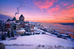 A Fairy Tale In Winter (Northernstar28**) Tags: quebec quebeccity canada hotelfrontenac fairmontlechateaufrontenac winter snow stlawrenceriver travelphotography sunrise ice frozen diamondclassphotographer flickrdiamond