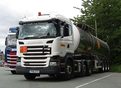 DHL PN16 OYS At Welshpool (Joshhowells27) Tags: lorry truck scania r450 scaniar450 dhl tanker adr hazardouscargo pn16oys