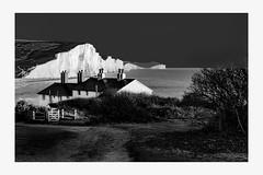 Seven Sisters Cottages | Seaford, Kent (www.davidrosenphotography.com) Tags: sevensisters kent coast sea cottages landscape chalk mono blackwhite