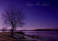 Happy New Year (Birgitta Sjostedt) Tags: sky nature sea water ice snow winter star text texture landscape sweden