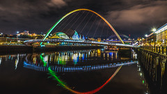 The Blinking Eye (ijpears) Tags: newcastle ga gateshead tyneside northumbria river tyne night sunset bridges millenium refl reflections reflection illuminated