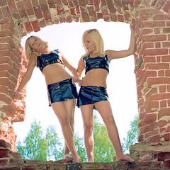 Twin Vision, Rich (stillphototheater) Tags: 2005 beautifulwomen blondes cathedral identicaltwins lovelyladies natasha olga prettygirls ruins russia sisters stillphototheater suzdal twins window