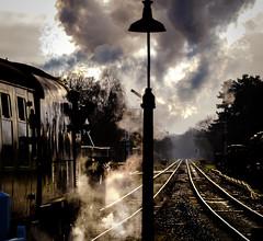 Quorn (Peter Leigh50) Tags: steam sky station lamp railway railroad rail signal semaphore locomotive great gcr central train trees track silhouette line sunshine fujifilm fuji xt2