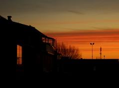 Colorful sunrise (Ingrid Friis Photo) Tags: soluppgång sunrice rött red sky sweden scania hus house reflexer lyktstolpar lampposts streetlights