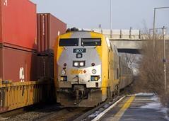 VIA 635 (Michael Berry Railfan) Tags: via635 viarail ge generalelectric genesisseries p42dc dorval train passengertrain cn120 cn canadiannational intermodal intermodaltrain doublestacks stacktrain via907