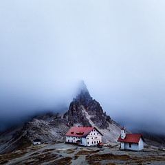 Hide and Seek (One_Penny) Tags: dolomiten italy mountains nature landscape dolomites southtyrol mountainscape misty fog square foggy atmospheric mountainhut paternkofel dreizinnenhütte montepaterno rifugioantoniolocatelli church squareformat